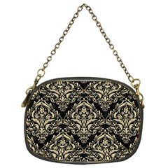 Damask1 Black Marble & Light Sand Chain Purses (two Sides)  by trendistuff