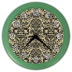 Damask2 Black Marble & Light Sand (r) Color Wall Clocks by trendistuff