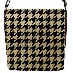 Houndstooth1 Black Marble & Light Sand Flap Messenger Bag (s) by trendistuff