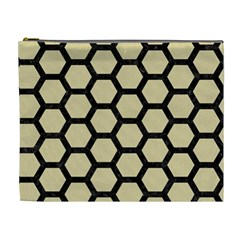 Hexagon2 Black Marble & Light Sand (r) Cosmetic Bag (xl) by trendistuff