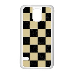 Square1 Black Marble & Light Sand Samsung Galaxy S5 Case (white) by trendistuff