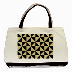 Triangle1 Black Marble & Light Sand Basic Tote Bag (two Sides) by trendistuff