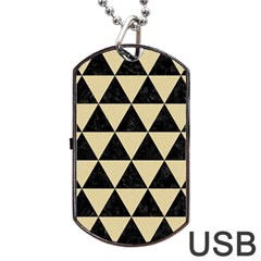 Triangle3 Black Marble & Light Sand Dog Tag Usb Flash (one Side) by trendistuff