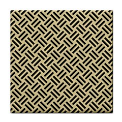 Woven2 Black Marble & Light Sand (r) Tile Coasters by trendistuff