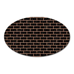 Brick1 Black Marble & Natural Red Birch Wood Oval Magnet by trendistuff