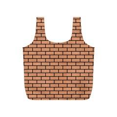 Brick1 Black Marble & Natural Red Birch Wood (r) Full Print Recycle Bags (s)  by trendistuff