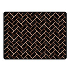 Brick2 Black Marble & Natural Red Birch Wood Double Sided Fleece Blanket (small)  by trendistuff
