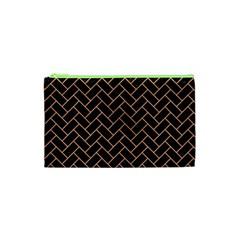 Brick2 Black Marble & Natural Red Birch Wood Cosmetic Bag (xs) by trendistuff