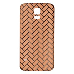 Brick2 Black Marble & Natural Red Birch Wood (r) Samsung Galaxy S5 Back Case (white) by trendistuff