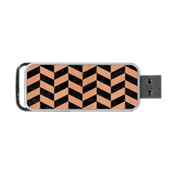 Chevron1 Black Marble & Natural Red Birch Wood Portable Usb Flash (two Sides) by trendistuff