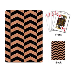 Chevron2 Black Marble & Natural Red Birch Wood Playing Card by trendistuff