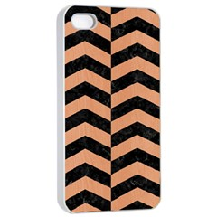 Chevron2 Black Marble & Natural Red Birch Wood Apple Iphone 4/4s Seamless Case (white) by trendistuff
