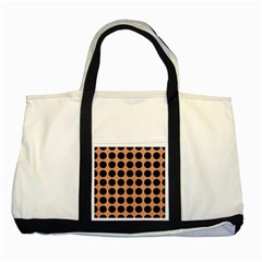 Circles1 Black Marble & Natural Red Birch Wood (r) Two Tone Tote Bag by trendistuff