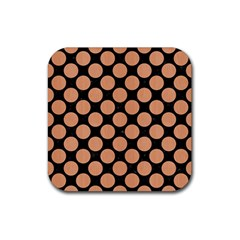 Circles2 Black Marble & Natural Red Birch Wood Rubber Square Coaster (4 Pack)  by trendistuff