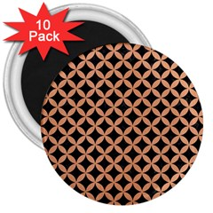 Circles3 Black Marble & Natural Red Birch Wood 3  Magnets (10 Pack)  by trendistuff