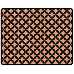 Circles3 Black Marble & Natural Red Birch Wood (r) Fleece Blanket (medium)  by trendistuff