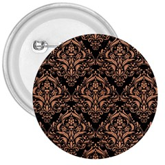 Damask1 Black Marble & Natural Red Birch Wood 3  Buttons by trendistuff