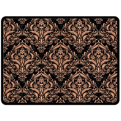Damask1 Black Marble & Natural Red Birch Wood Double Sided Fleece Blanket (large)  by trendistuff
