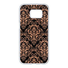 Damask1 Black Marble & Natural Red Birch Wood Samsung Galaxy S7 Edge White Seamless Case by trendistuff