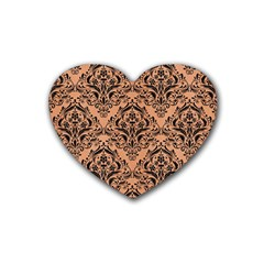 Damask1 Black Marble & Natural Red Birch Wood (r) Heart Coaster (4 Pack)  by trendistuff