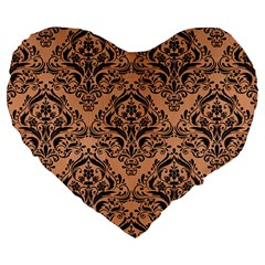 Damask1 Black Marble & Natural Red Birch Wood (r) Large 19  Premium Heart Shape Cushions by trendistuff