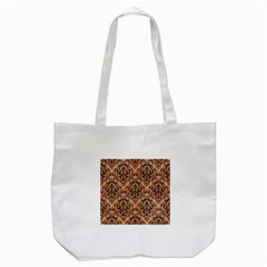 Damask1 Black Marble & Natural Red Birch Wood (r) Tote Bag (white) by trendistuff