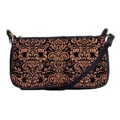 Damask2 Black Marble & Natural Red Birch Wood Shoulder Clutch Bags by trendistuff