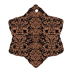 Damask2 Black Marble & Natural Red Birch Wood Snowflake Ornament (two Sides) by trendistuff