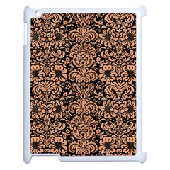 Damask2 Black Marble & Natural Red Birch Wood Apple Ipad 2 Case (white) by trendistuff