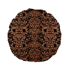 Damask2 Black Marble & Natural Red Birch Wood Standard 15  Premium Round Cushions by trendistuff