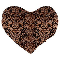 Damask2 Black Marble & Natural Red Birch Wood Large 19  Premium Flano Heart Shape Cushions by trendistuff