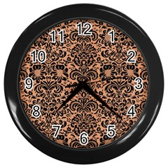 Damask2 Black Marble & Natural Red Birch Wood (r) Wall Clocks (black) by trendistuff