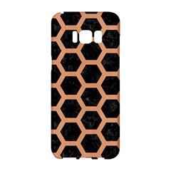 Hexagon2 Black Marble & Natural Red Birch Wood Samsung Galaxy S8 Hardshell Case  by trendistuff