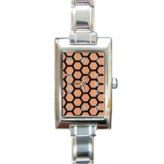 Hexagon2 Black Marble & Natural Red Birch Wood (r) Rectangle Italian Charm Watch by trendistuff