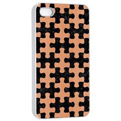 Puzzle1 Black Marble & Natural Red Birch Wood Apple Iphone 4/4s Seamless Case (white) by trendistuff