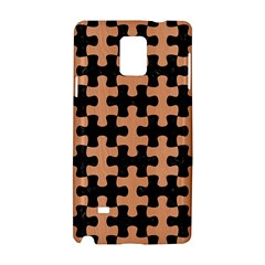 Puzzle1 Black Marble & Natural Red Birch Wood Samsung Galaxy Note 4 Hardshell Case by trendistuff