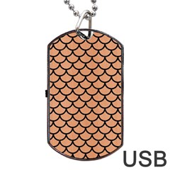 Scales1 Black Marble & Natural Red Birch Wood (r) Dog Tag Usb Flash (one Side) by trendistuff