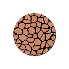 Skin1 Black Marble & Natural Red Birch Wood Rubber Round Coaster (4 Pack)  by trendistuff