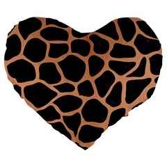 Skin1 Black Marble & Natural Red Birch Wood (r) Large 19  Premium Heart Shape Cushions by trendistuff
