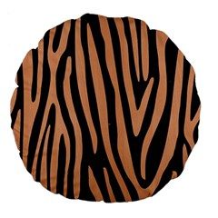 Skin4 Black Marble & Natural Red Birch Wood (r) Large 18  Premium Flano Round Cushions by trendistuff