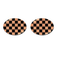 Square1 Black Marble & Natural Red Birch Wood Cufflinks (oval) by trendistuff
