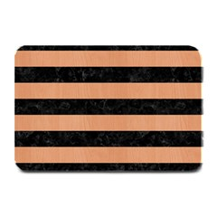 Stripes2 Black Marble & Natural Red Birch Wood Plate Mats by trendistuff