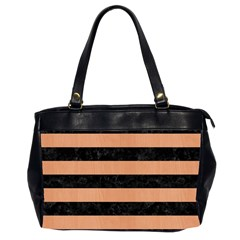Stripes2 Black Marble & Natural Red Birch Wood Office Handbags (2 Sides)  by trendistuff