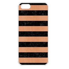 Stripes2 Black Marble & Natural Red Birch Wood Apple Iphone 5 Seamless Case (white) by trendistuff