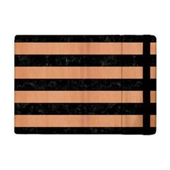 Stripes2 Black Marble & Natural Red Birch Wood Ipad Mini 2 Flip Cases by trendistuff