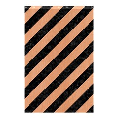 Stripes3 Black Marble & Natural Red Birch Wood Shower Curtain 48  X 72  (small)  by trendistuff