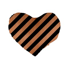 Stripes3 Black Marble & Natural Red Birch Wood Standard 16  Premium Flano Heart Shape Cushions by trendistuff