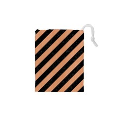 Stripes3 Black Marble & Natural Red Birch Wood Drawstring Pouches (xs)  by trendistuff