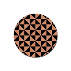 Triangle1 Black Marble & Natural Red Birch Wood Rubber Round Coaster (4 Pack)  by trendistuff
