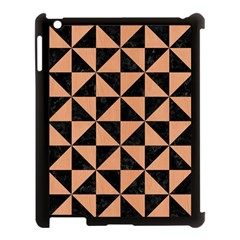 Triangle1 Black Marble & Natural Red Birch Wood Apple Ipad 3/4 Case (black) by trendistuff